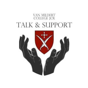 Talk and Support logo (hands holding the college crest)